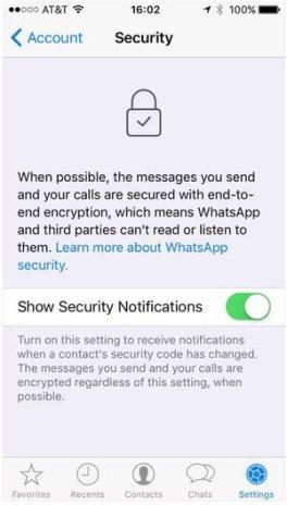 whatsapp iPhone settings